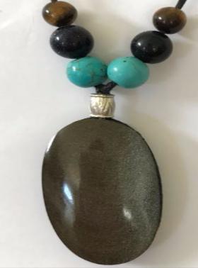 Quartz Necklace- Oval Obsidian BQTTE201