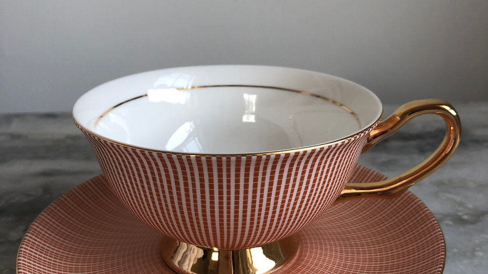 SERENA CUP AND SAUCER SET CORAL