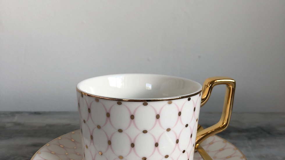 LUXURY WHITE PRINTED CUP, SPOON AND SAUCER SET