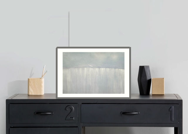 Painting on a sideboard