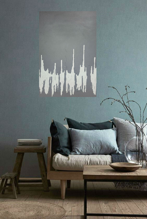 Abstract grey and white painting