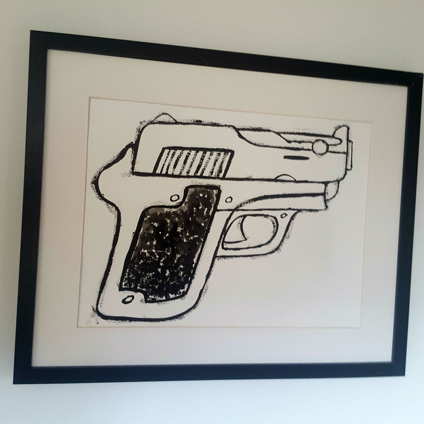 painting of a pistol