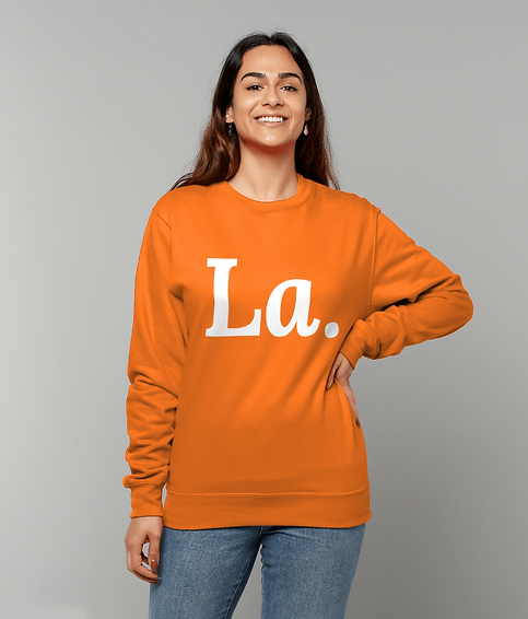 GIRL WEARING A LA SWEATSHIRT