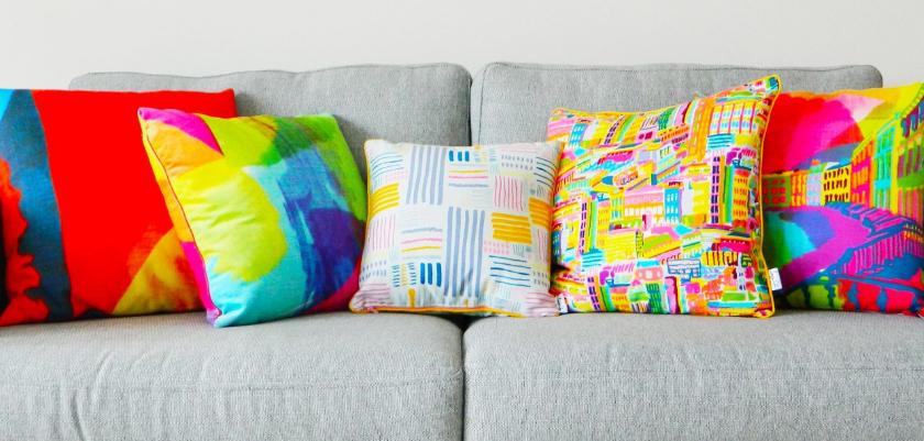 colourful cushions on a sofa