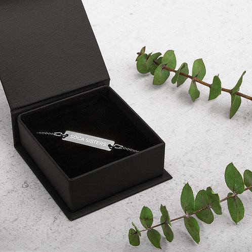 Soca Sisters Engraved Silver Bar Chain Bracelet