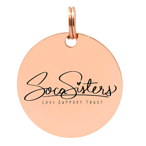 Rose Gold Stainless Steel Soca Sister Pendant with Necklace