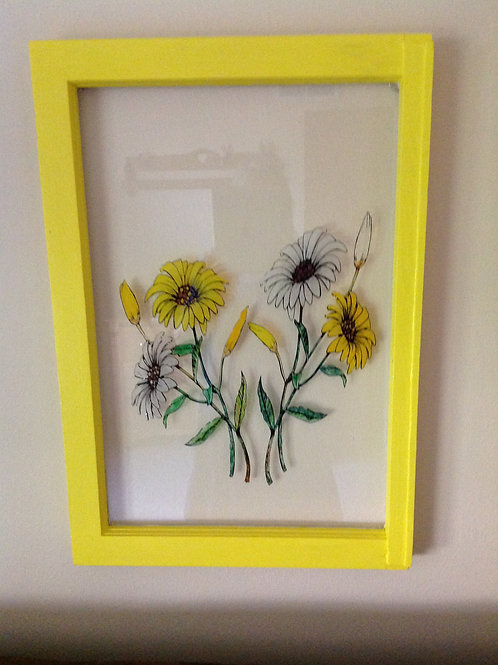 Daisy Flower Painted Antique Window