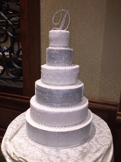 Silver and white cake
