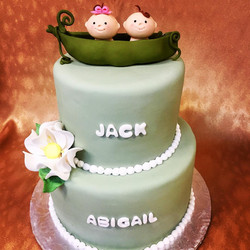 Tiered peas in a pod cake