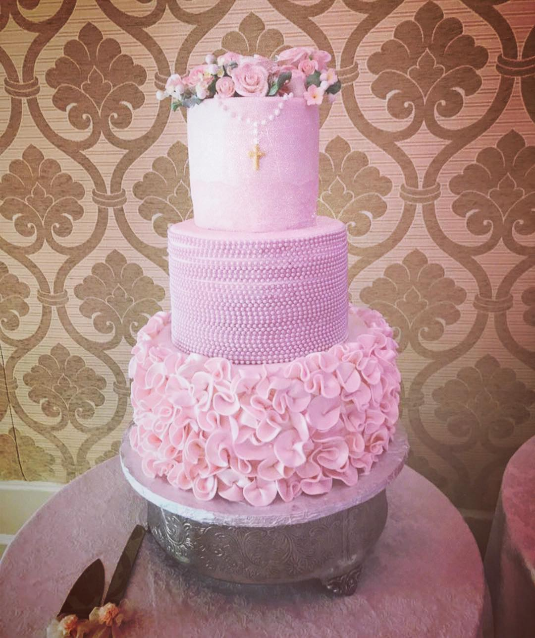 Pink 3 tier cake