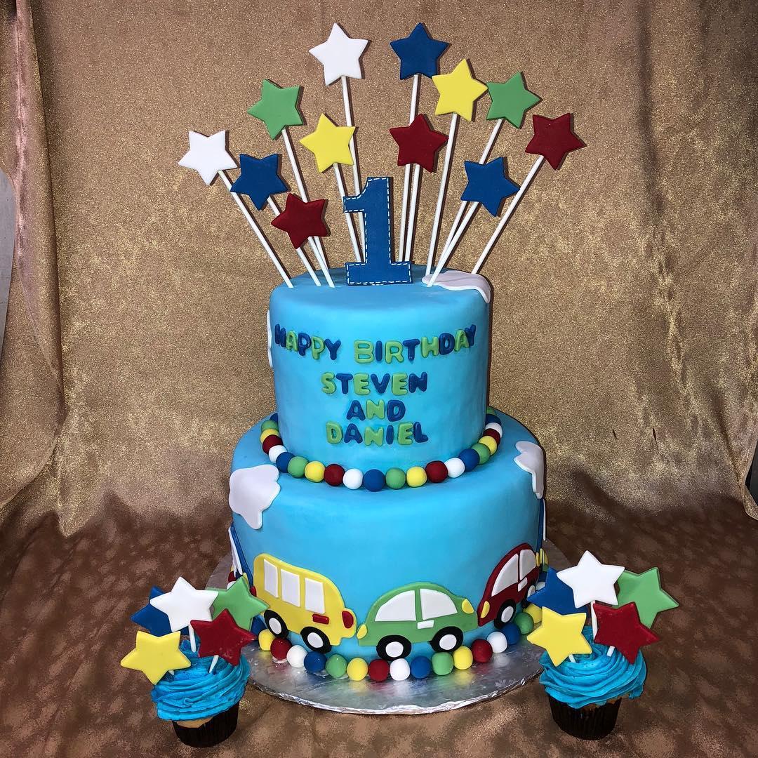 Truck first birthday cake