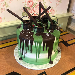 Green and brown halloween cake