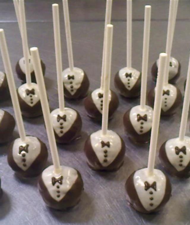Black tie cake pops