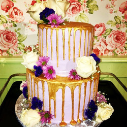 Pink and gold tier cake