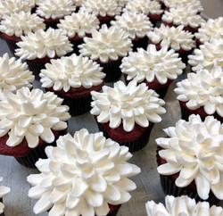 Red velvet white flower cupcakes