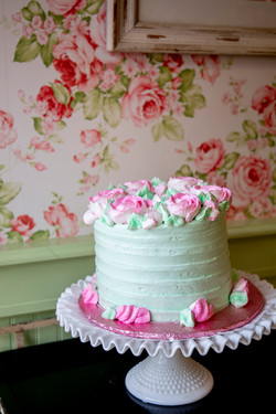 Green & pink frosted cake
