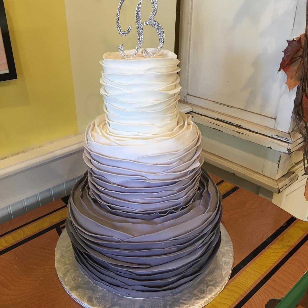 Ruffle tiered ombre cake