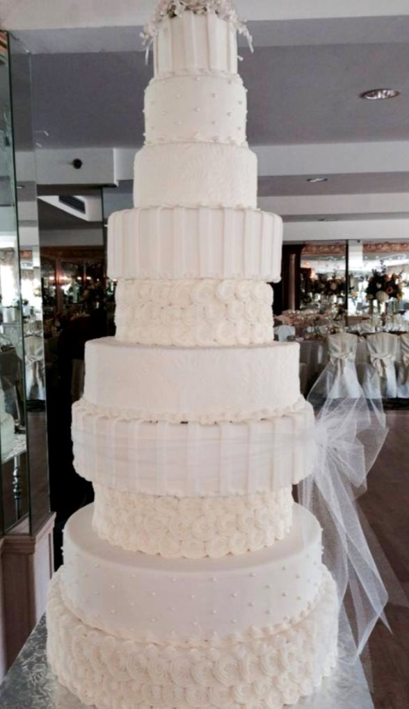 Multiple tier tall wedding cake