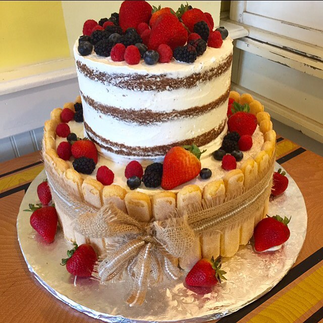 Naked 2 tier cake