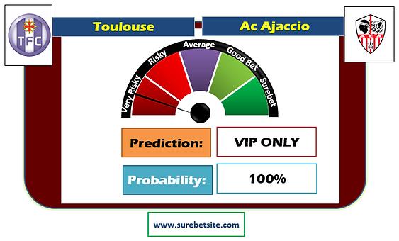 TOULOUSE vs AC AJACCIO OVER 1.5 SUREBET PREDICTION
