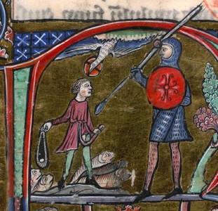 Detall d'un còdex medieval. David i Goliat