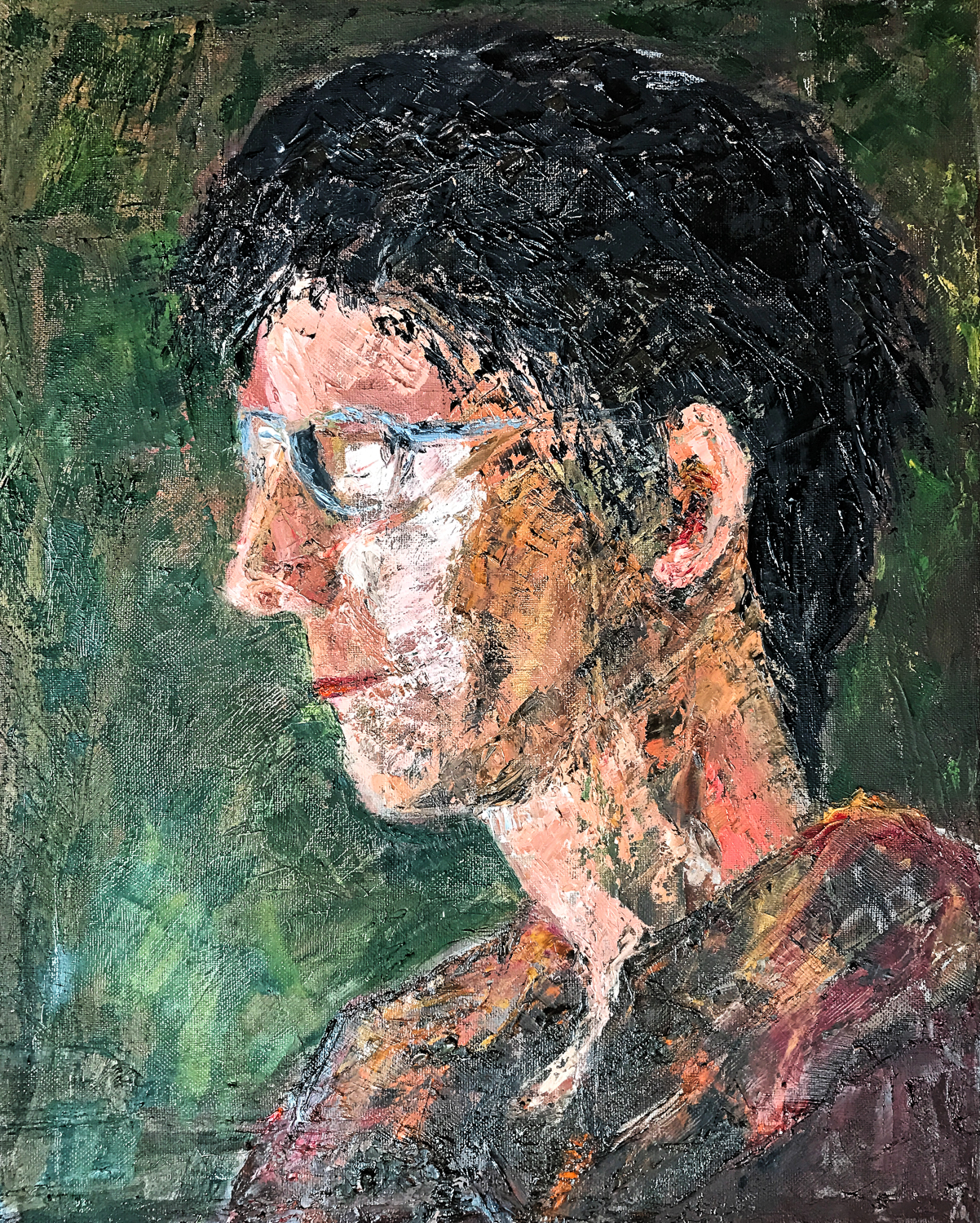 Woman with blue glasses