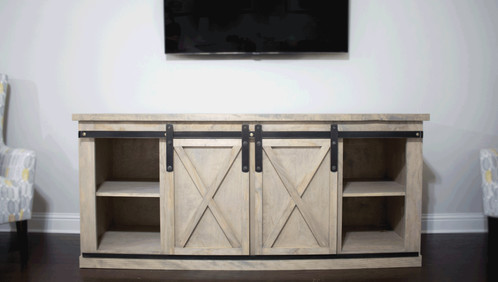 Good Build Yourself A Media Console With Sliding Barndoors!