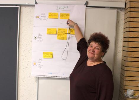 Ilka Gehlhaar-Heider zeigt auf die Ergebnisse der AG 3