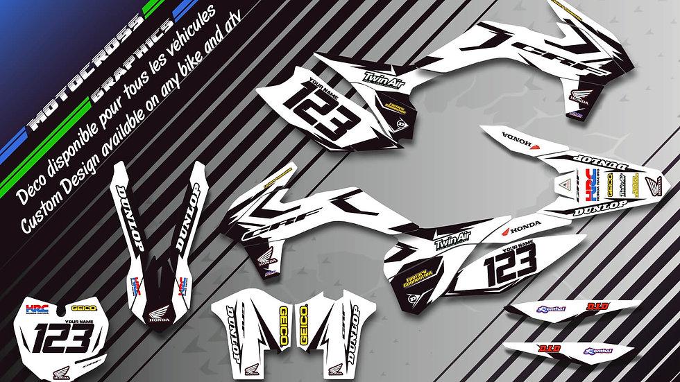 "Custom dirt bike Graphics kit HONDA ""Factory White Edition CA10AW"""