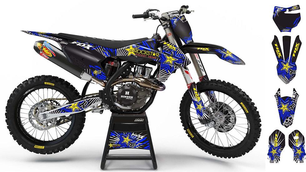 "Custom dirt bike Graphics kit ""FOX BOMB"" blue mode A29BE"