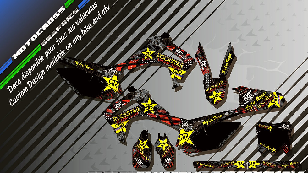 """ROCKSTAR Energy KA16A"" Kit Déco Perso CRF 450R 02-18"