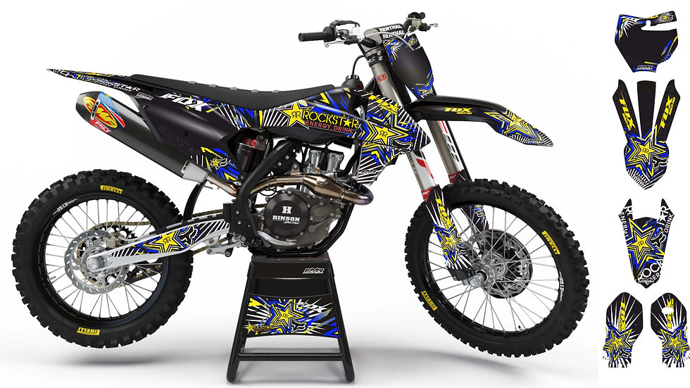 "Custom dirt bike Graphics kit ""FOX BOMB"" blue/yellow mode A29BEYW"