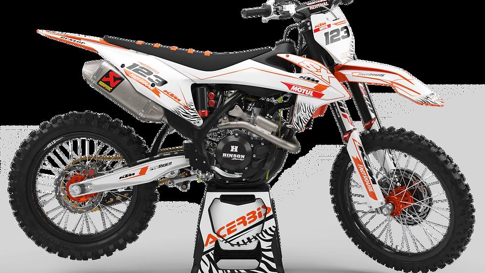 Custom dirt bike Graphics kit KTM MOTUL WHITE