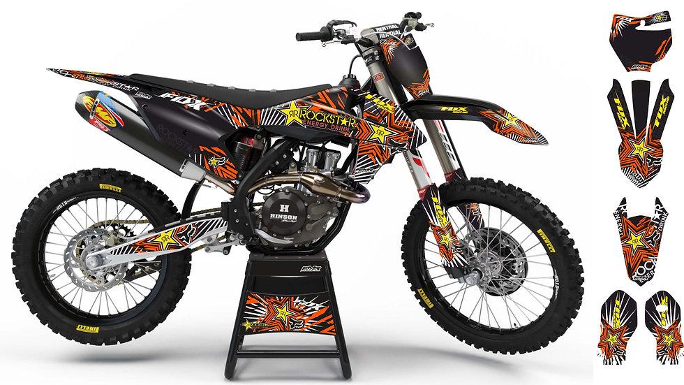 """Custom dirt bike Graphics kit """"FOX BOMB"""" orange mode A29OG"""