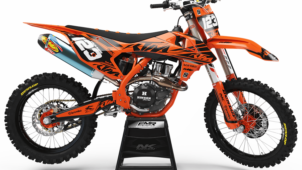 Custom dirt bike Graphics kit ktm FACTORY Neken black/orange CA32C