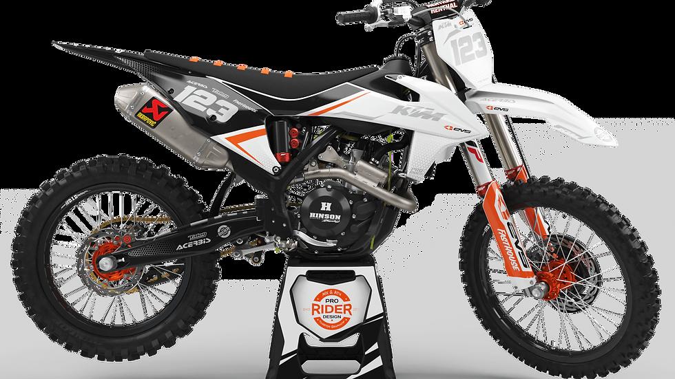 Custom dirt bike Graphics kit KTM EVS black and white