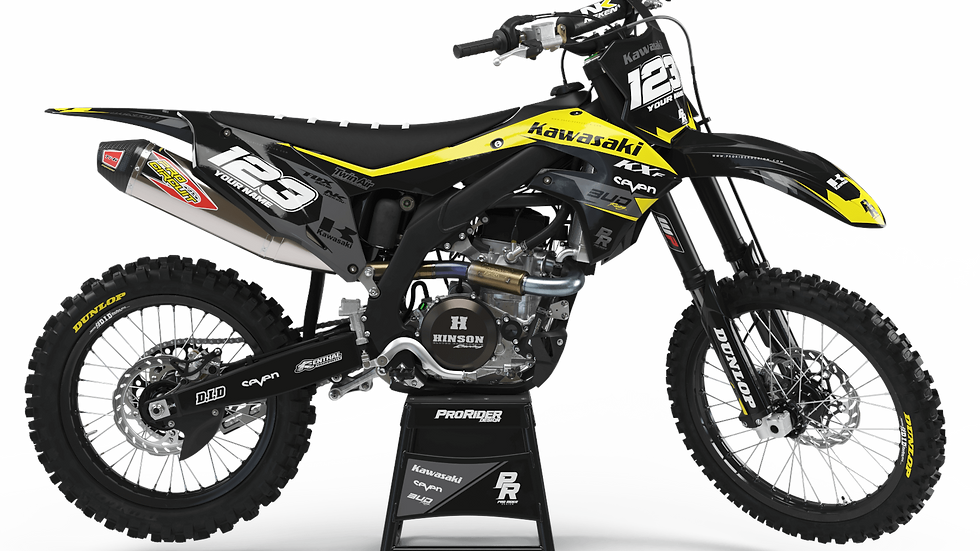 Custom dirt bike Graphics kit KAWASAKI BUD RACING BLACK YELLOW CA36B4