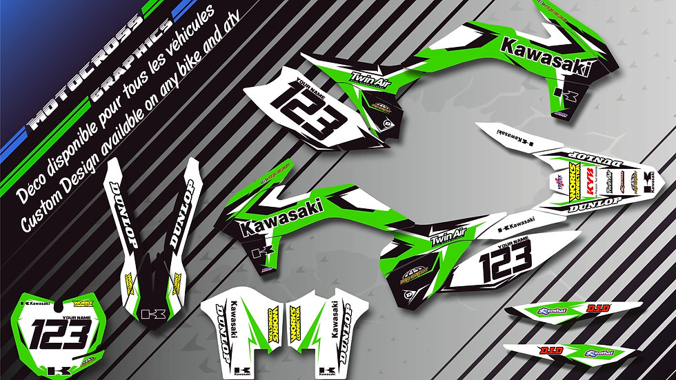 """Factory Replica KAWASAKI CA10B"" Graphic kit KAWASAKI KLX 450 R"