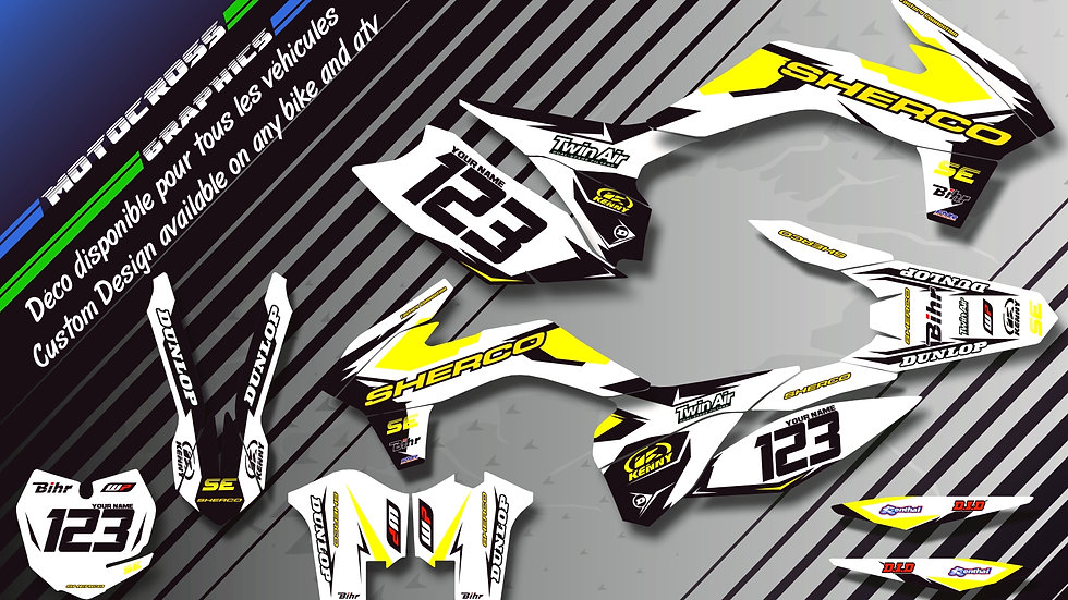 "Custom dirt bike Graphics kit SHERCO ""Factory White Edition CA10FW"""
