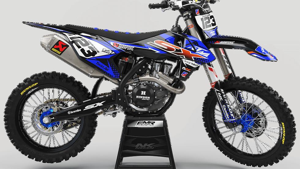 Custom dirt bike Graphics kit ktm FACTORY ENERGY CA33C2 blue/orange