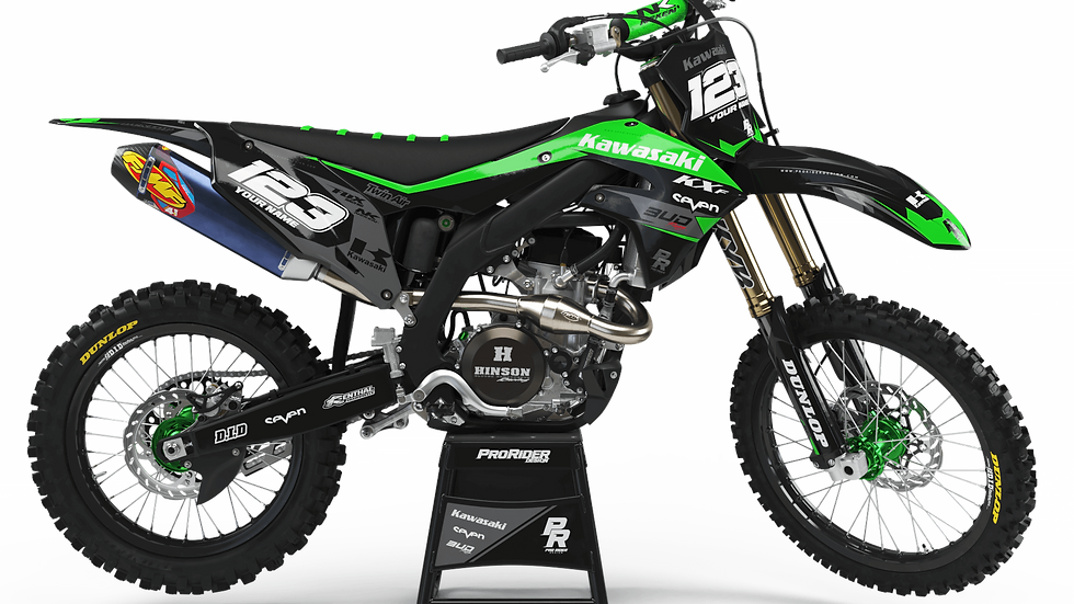 Custom dirt bike Graphics kit KAWASAKI BUD RACING BLACK|GREEN CA36B1