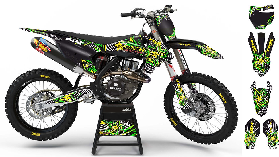 "Custom dirt bike Graphics kit ""FOX BOMB"" green/yellow mode A29GNYW"