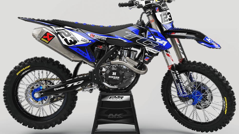 Custom dirt bike Graphics kit Husqvarna FACTORY ENERGY CA33I2 blue/black