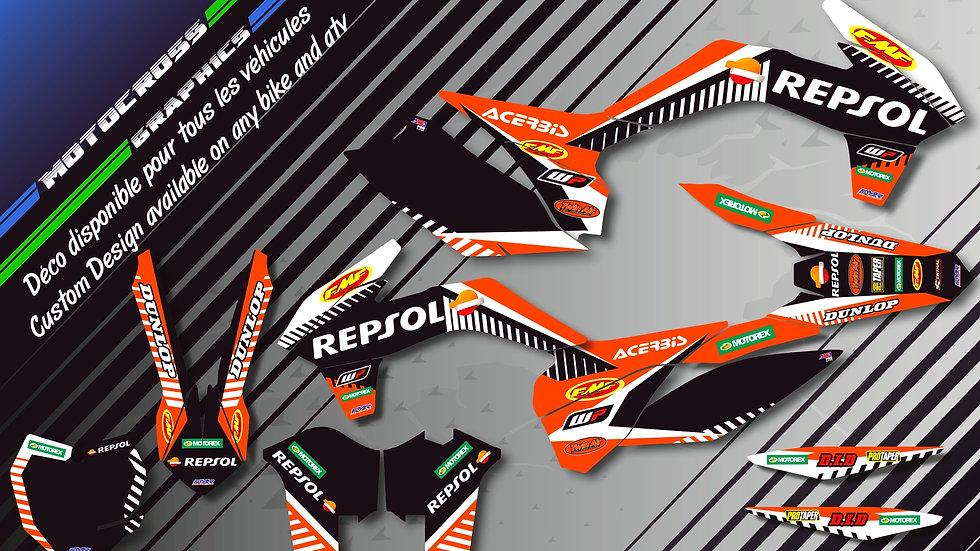 """Custom dirt bike Graphics kit """"Repsol CA12D"""""""