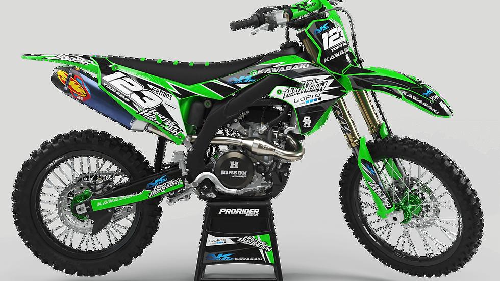 Custom dirt bike Graphics kit KAWASAKI GO PRO HART AND HUNTINGTON CA38B