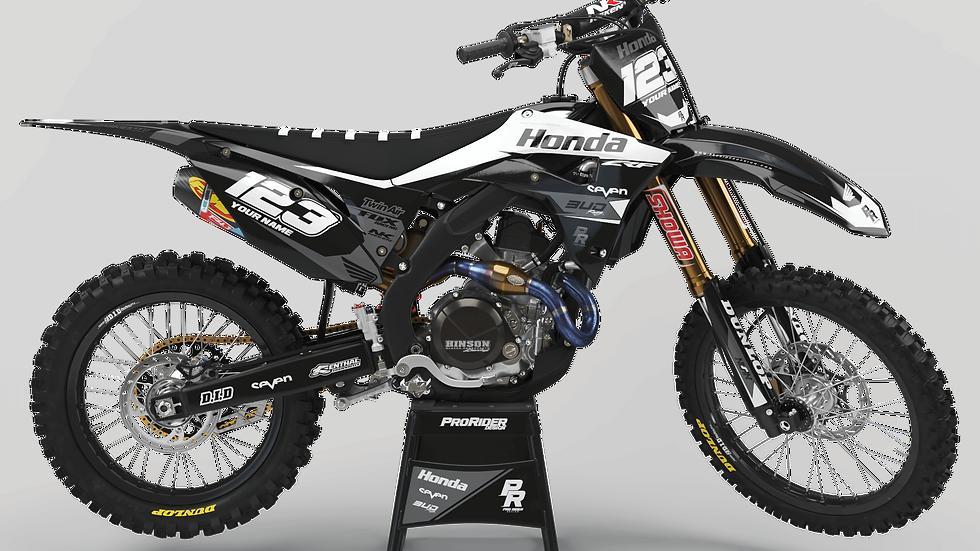Custom dirt bike Graphics kit HONDA BUD RACING BLACK|WHITE CA36A5