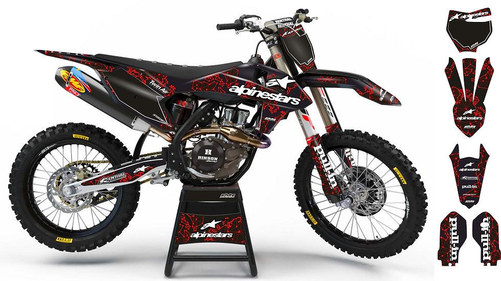 """Custom dirt bike Graphics kit """"ALPINESTARS ADN"""" A28RD red"""
