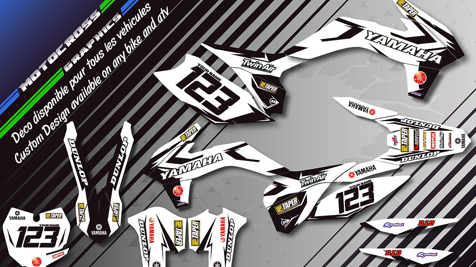 """Factory White Edition KA10EW"" Kit Déco Perso 125 & 250 YZ 93-18"