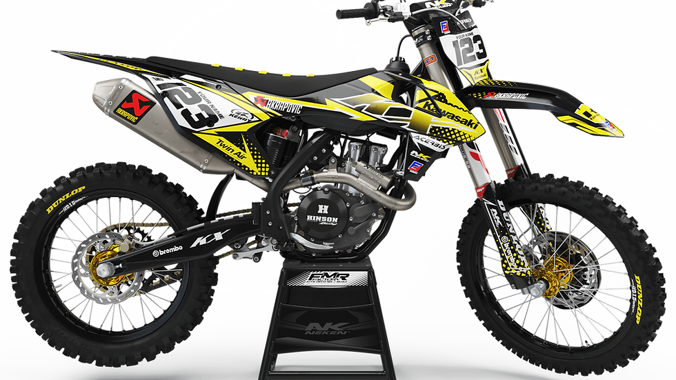 Custom dirt bike Graphics kit kawasaki FACTORY ENERGY CA33B4 yellow