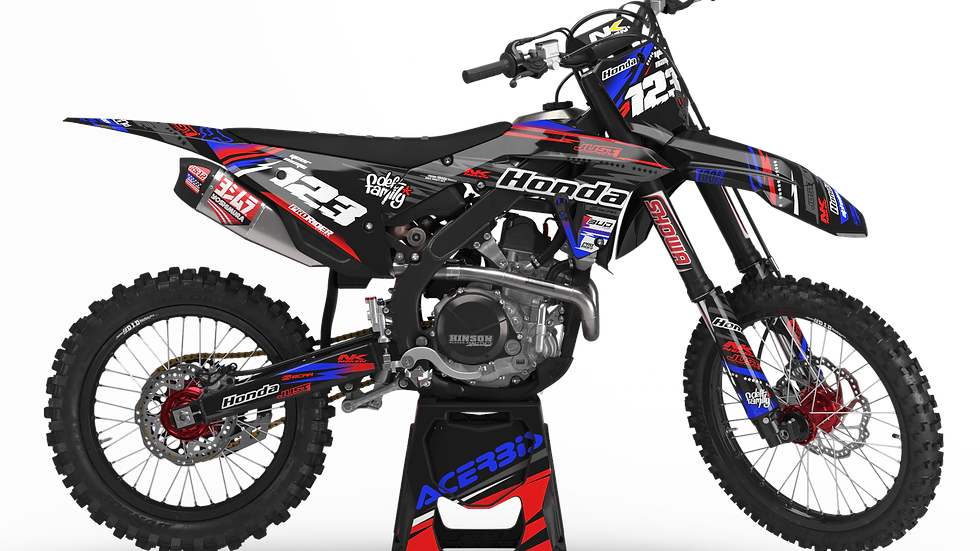 Custom dirt bike Graphics kit HONDA JUST1 BLACK